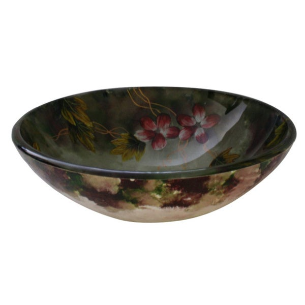 Floral Glass Bowl Vessel Bathroom Sink