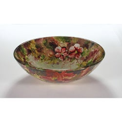 Floral Bathroom Sinks : Floral Glass Bowl Vessel Bathroom Sink