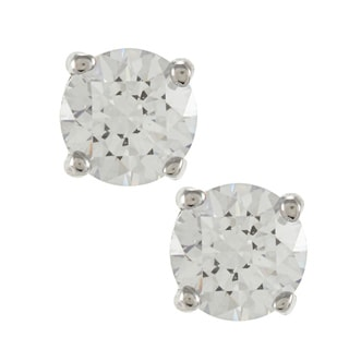 Sunstone 925 Sterling Silver Round-cut Solitaire Earrings Made with SWAROVSKI ZIRCONIA