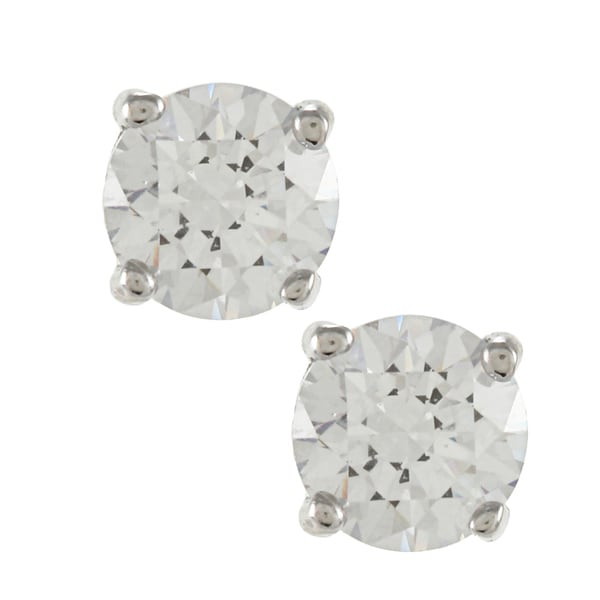 Sunstone Sterling Silver Round-cut Solitaire Earrings made with Swarovski Zirconia with Gift Box
