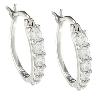 Sunstone Sterling Silver Round Hoop Earrings Made with SWAROVSKI ZIRCONIA