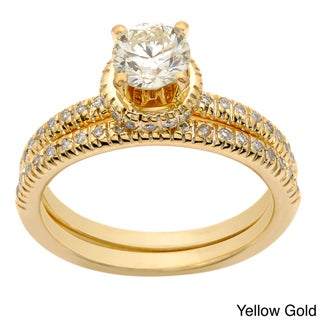 Auriya 14k Yellow Gold 1ct TDW Diamond Bridal Ring Set (H-I, I1-I2)