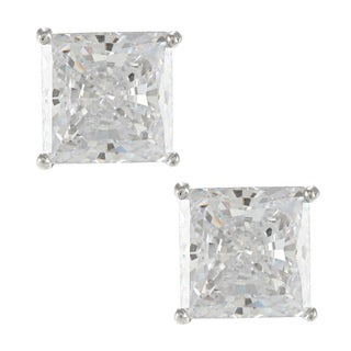 Sunstone Sterling Silver Square-cut Solitaire Earrings Made with SWAROVSKI ZIRCONIA