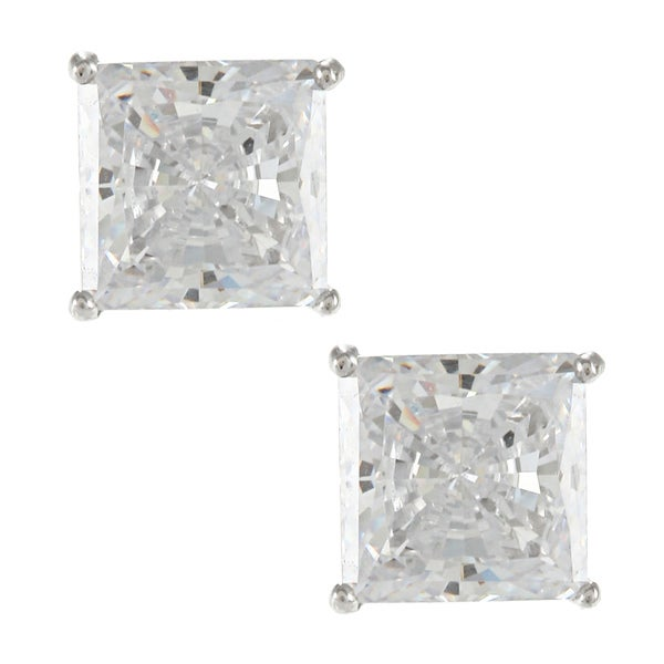 Sunstone Sterling Silver Square-cut Solitaire Earrings made with Swarovski Zirconia with Gift Box
