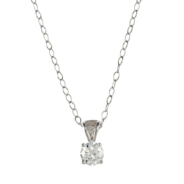 Sunstone Sterling Silver Solitaire Pendant Necklace made with Swarovski Zirconia with Gift Box