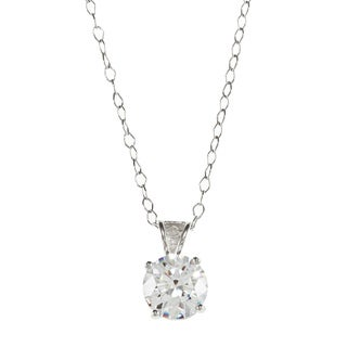 Sunstone High Polish Sterling Silver Solitaire Pendant Necklace made with Swarovski Zirconia with Gift Box