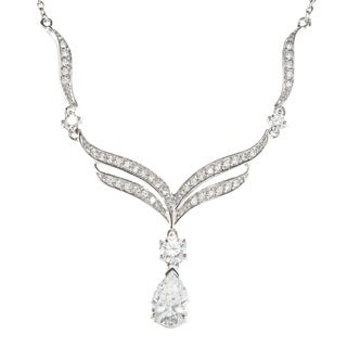 Sunstone 925 Sterling Silver Teardrop Necklace Made with Swarovski Zirconia
