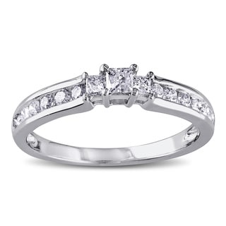 Miadora 10k White Gold 1/2ct TDW Princess Cut Three Stone Diamond Ring (H-I, I2-I3)