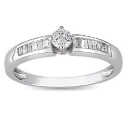 Miadora 10k White Gold 1/4ct TDW Diamond Ring (H-I, I2-I3)