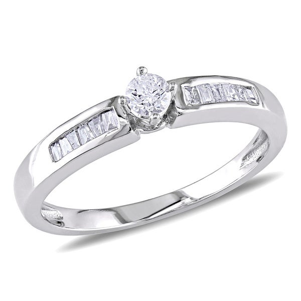 Miadora 10k White Gold 1/4ct TDW Diamond Engagement Ring (H-I, I2-I3)