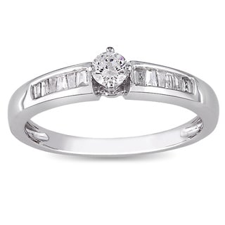 Miadora 10k White Gold 1/4ct TDW Round-cut Diamond Ring (H-I, I2-I3)