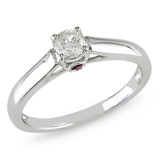 Miadora 14k White Gold 1/4ct TDW Diamond and Pink Sapphire Solitaire Ring (G-H, I1-I2)