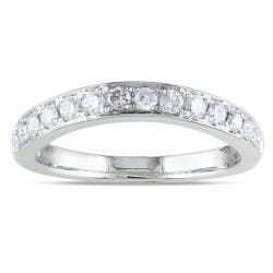 Miadora 14k White Gold 1/2ct TDW Curved Diamond Ring (G-H, SI1-SI2)