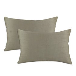 Shantung Taupe S-backed Fiber Pillows (Set of 2)