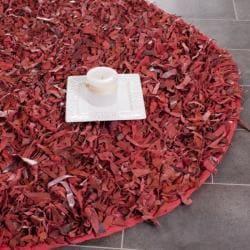 Safavieh Handmade Red Leather Metro Shag (6' Round)