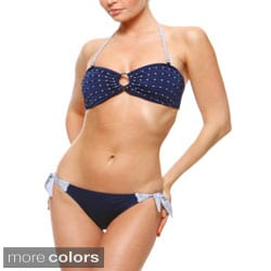 1 Sol Swim Women's Embellished Bandeau Top Hipster Bottom 2-piece Swimsuit