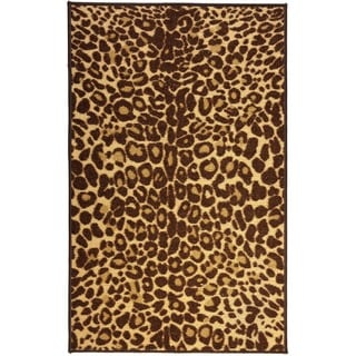 Animal Prints Leopard Gold Non-Skid Kitchen Bathroom Mat Brown, Ivory, and Beige Area Rug (2' x 3'3)