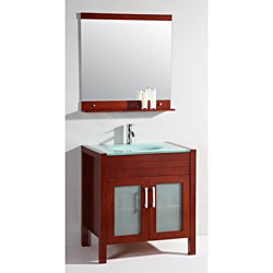 Glass Top 32-inch Single Sink Bathroom Vanity with Mirror