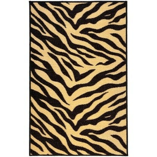 Animal Zebra Prints Black and Beige Non-skid Rubber Backed Area Rug (2' x 3'3)