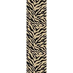 Animal Prints Zebra Black Runner Non-Skid Area Rug (2' x 6'10)
