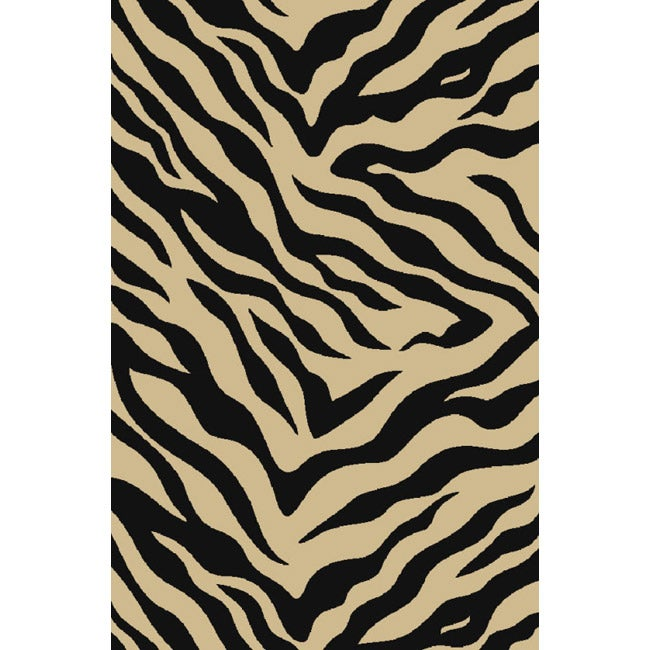 Animal Prints Zebra Black Non-Skid Area Rug (5' x 7')