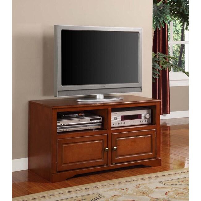 K&B Walnut Finish Wood TV Stand