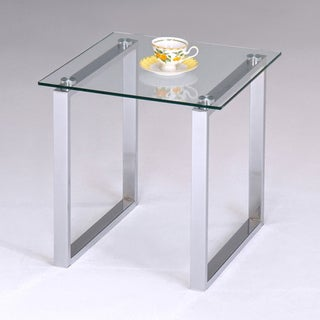 K&B Glass and Chrome End Table