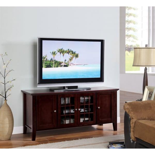 K&B Dark Cherry Finish Wooden TV Stand