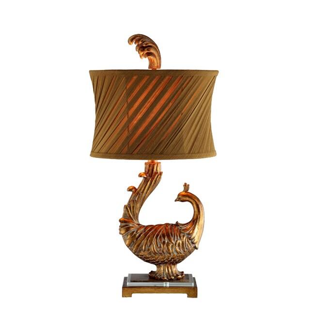 Peacock 1-Light Lamp w/Slant Pleats Shade