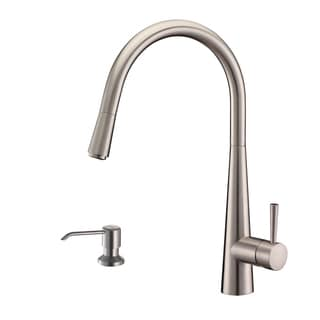 Ruvati RVF1221K1BN Brushed Nickel Pullout Spray Kitchen Faucet with Soap Dispenser