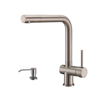 Ruvati RVF1235K1BN Brushed Nickel Single Handle Kitchen Faucet with Soap Dispenser
