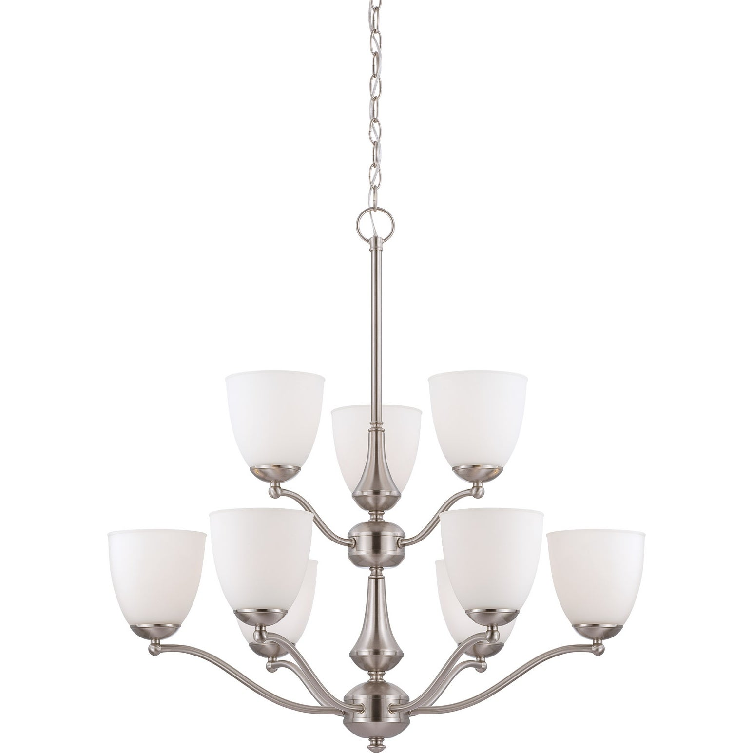 Nuvo Patton 9-light Brushed Nickel Fluorescent Chandelier