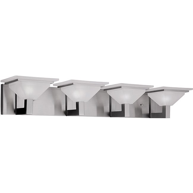 Details about 4 Light Nickel Bathroom Vanity Fixture with Etched Glass