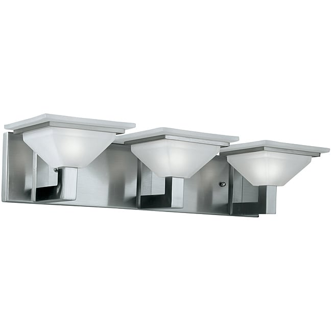 Contemporary Brushed Nickel Vanity Lights : Bath Vanity Lights 3 Set Contemporary Bathroom Lighting Home Glass Wall Mount eBay