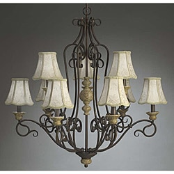 Traditional 9 Light Aged Crackle Chandelier