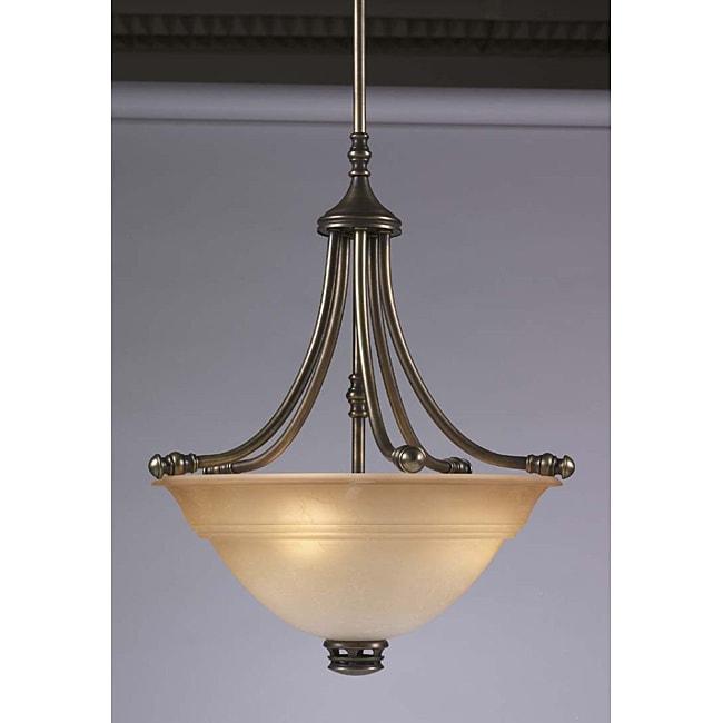 Transitional 3 Light Antique Brass Pendant