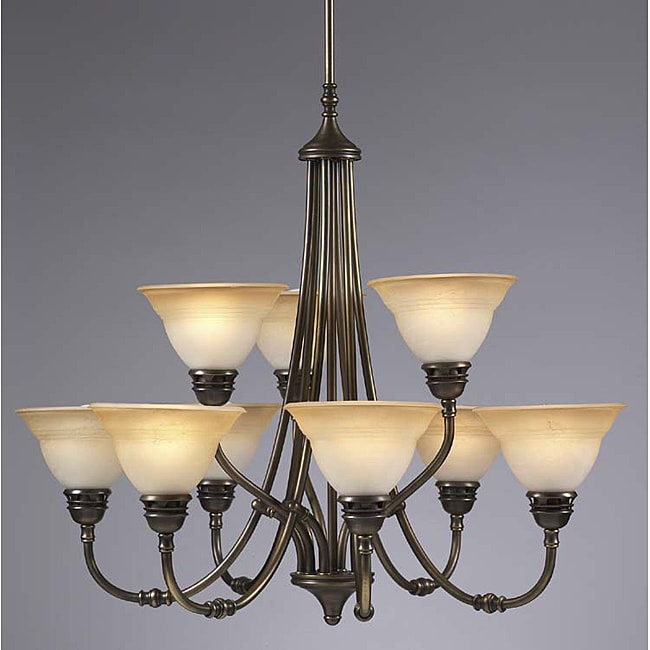 Transitional 9 Light Antique Brass Chandelier
