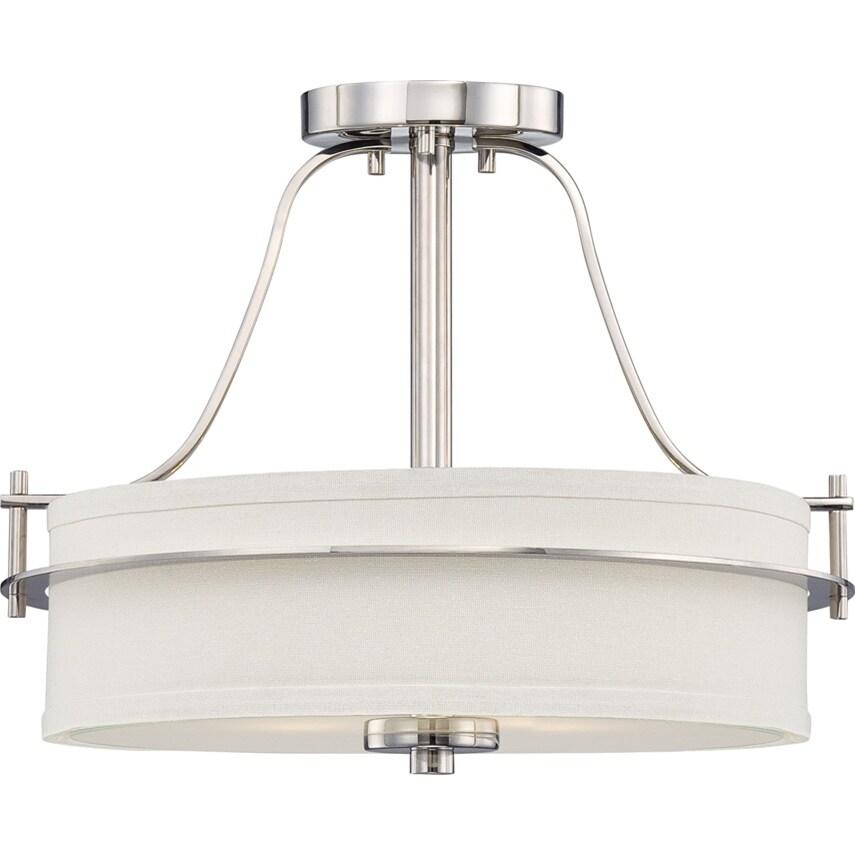 Nuvo Loren 2-light Polished Nickel Semi-flush Fixture