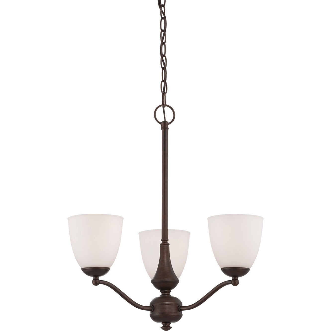 Nuvo Patton Traditional Three-Light Prairie Bronze Chandelier