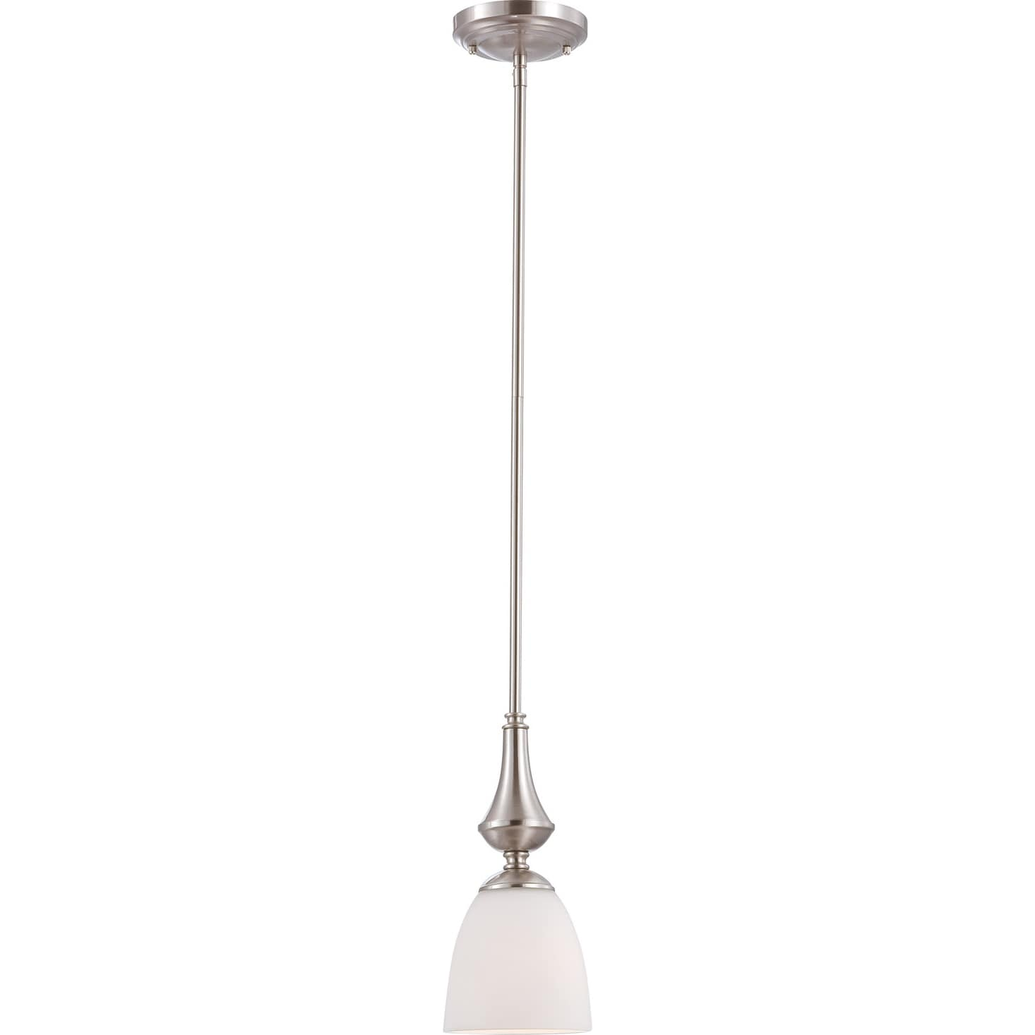 nuvo 39 patton 39 1 light brushed nickel mini pendant 14579938