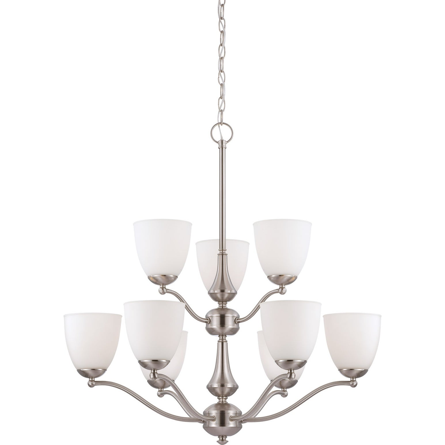 Nuvo 'Patton' 9-light Brushed Nickel Chandelier
