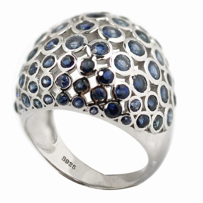 De Buman Sterling Silver 5 1/3ct TGW Sapphire Ring