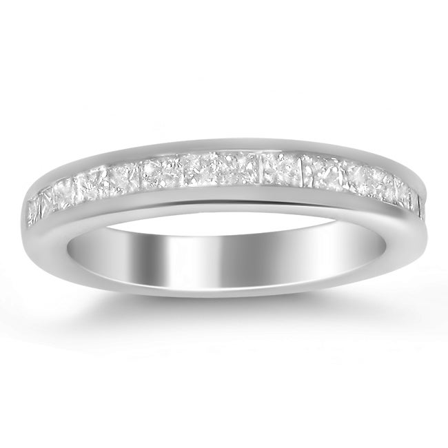 Montebello 14k White Gold 3/4ct TDW Princess Channel Wedding Band (G-H, I1)