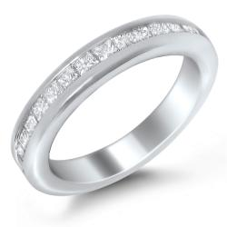 14k White Gold 3/4ct TDW Princess Channel Wedding Band (G-H, I1)