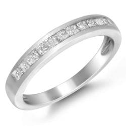 14k White Gold 1/2ct TDW Princess-cut Diamond Wedding Band  (I-J, I2-I3)