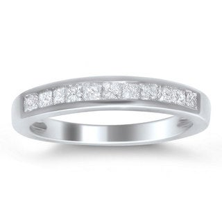 Brides Across America 14k White Gold 1/2ct TDW Princess-cut Diamond Wedding Band (I-J, I2-I3)