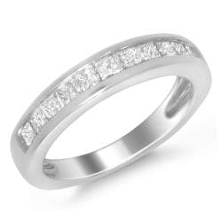 Montebello 14k White Gold 3/4ct TDW Princess-cut Diamond Wedding Band (H-I, I1-I2)