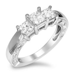 Montebello 14k White Gold 1ct TDW Princess-cut Diamond Engagement Ring (H-I, I1-I2)