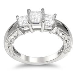 14k White Gold 1ct TDW Princess-cut Diamond Engagement Ring (H-I, I1-I2)
