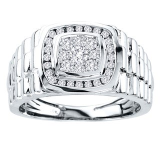 De Couer 10k White Gold Men's 1/2ct TDW Diamond Ring (H-I, I2) with Bonus Necklace